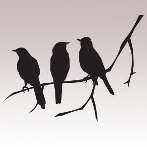 Linnut-sisustustarra valkoiseen seinään, Designtarrat